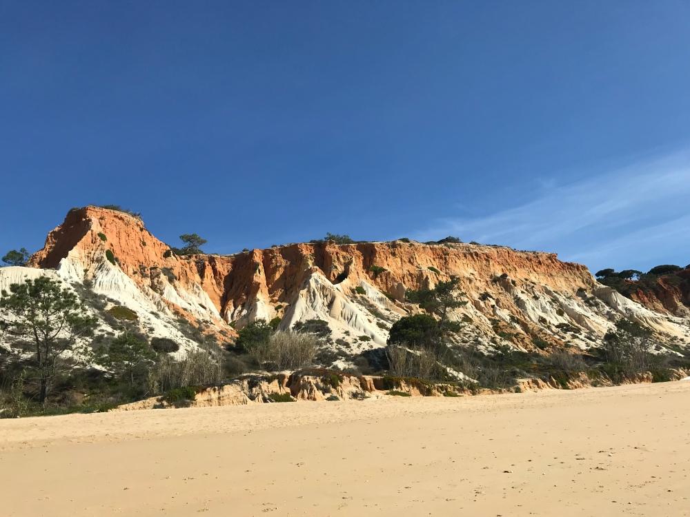 The stunning orange cliffs on Praia da Falesia