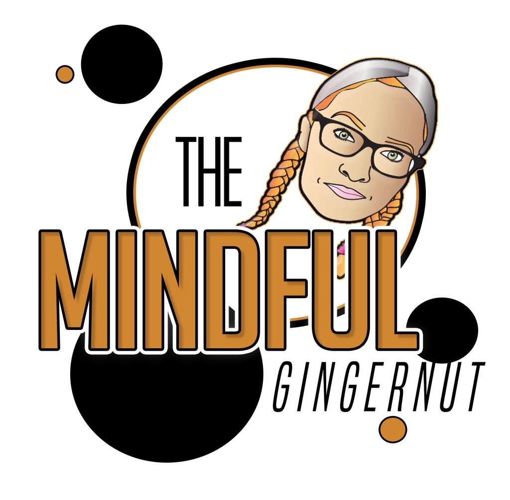 The Mindful Gingernut logo. 'Mindful is in big mustard coloured capital letters, with 'The' and 'Gingernut' in smaller black capital letters. A cartton of my face is coming out the top of 'ful'. The image also has some black and mustard coloured circles randomly placed around the logo