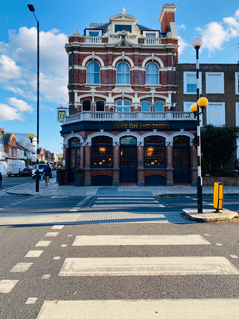 Zebra crossing leading to the front of the Duke on The Green Pub